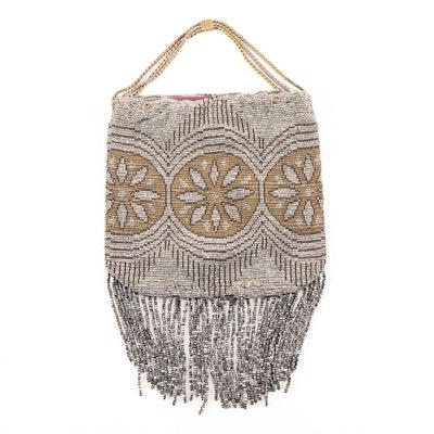 Medallion Motif Enameled Machine  Metal Bead Evening Bag, 1930s Vintage