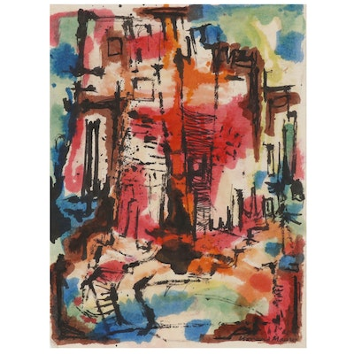 Leonard Maurer Abstract Cityscape Watercolor Painting, 1966