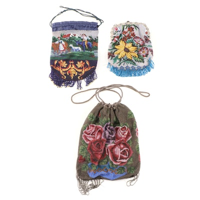 Glass Beaded Floral and Scenic Motif Reticule and Frame Bags, Antique