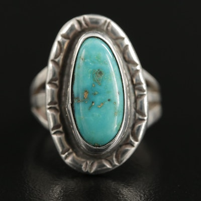Southwestern Sterling Turquoise Stampwork Ring with Split Shoulders