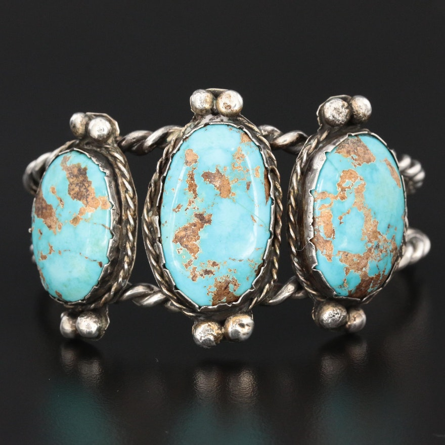 800 Silver Turquoise Cuff Bracelet