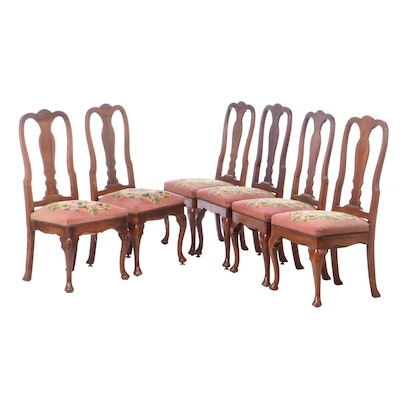 Six Queen Anne Style Walnut Dining Chairs in Pink Needlepoint, 19th Century
