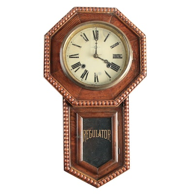 Sessions Walnut Regulator Clock, Late 19th / Early 20th Century