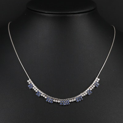 14K White Gold Diamond and Sapphire Charms on 18K White Gold Chain