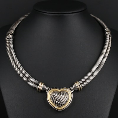 Sterling Silver Diamond Heart Necklace With 18K Gold Accents