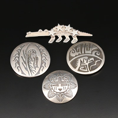 Western Style Sterling Silver Brooches Featuring Grady Alexander