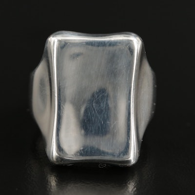 Robert Lee Morris Sterling Biomorphic Rectangle Ring