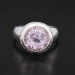 Robert Benatar 18K Gold 4.73 CT Kunzite and Diamond Ring