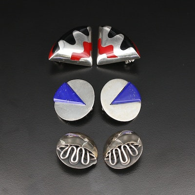 Sterling Clip-On Earring Assortment Including Taxco and Lucite