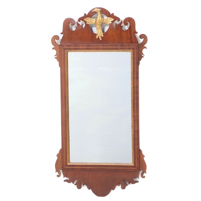 Chippendale Style Mahogany Mirror with Gilt Phoenix, Early to Mid 20th Century