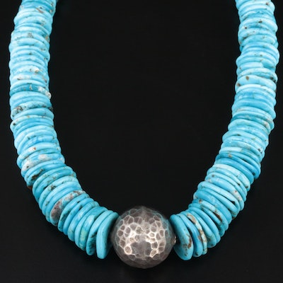 Hammered Sterling Turquoise Necklace