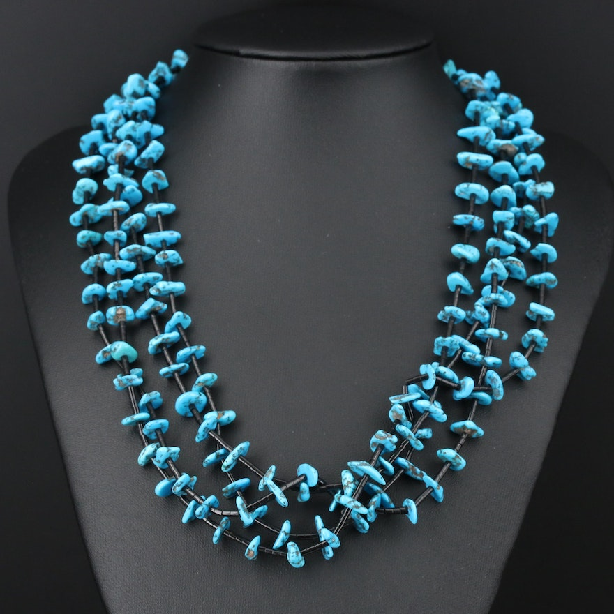Sterling Silver Turquoise and Black Lucite Beaded Necklace