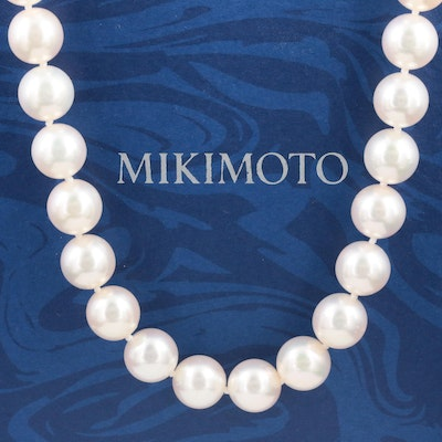 Mikimoto Pearl Necklace with 14K Gold Clasp, Pouch and Box