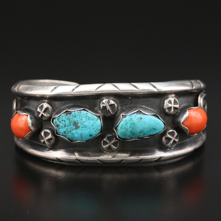 Southwestern Style Sterling Turquoise and Coral Cuff