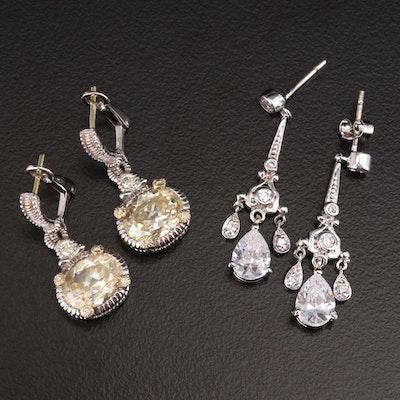 Judith Ripka Sterling Diamond and Cubic Zirconia Earrings