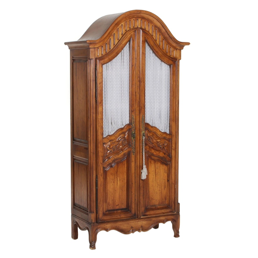 Jamestown Lounge Co. French Provincial Style Carved and Stained Wood Armoire