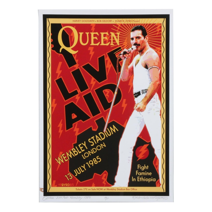 """David Edward Byrd Giclée """"Queen & Freddie Mercury at Live Aid London 1985"""""""