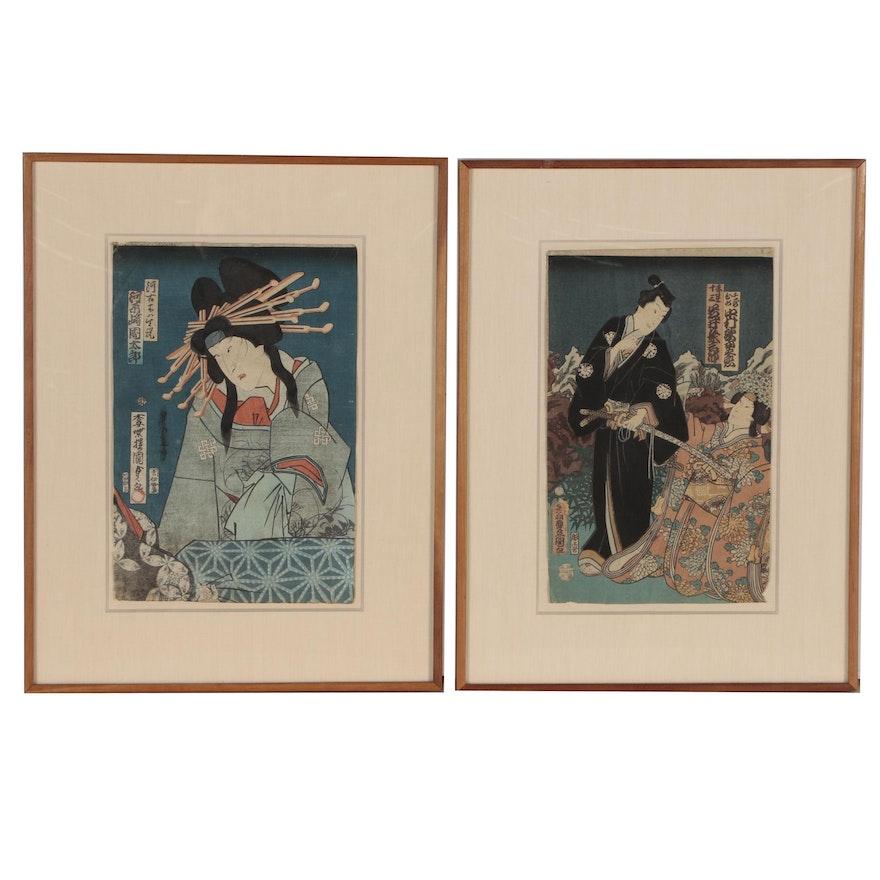 Utagawa Kunisada and Utagawa Kunisada II Ukiyo-e Woodblocks of Kabuki Actors