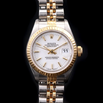 Rolex Datejust 18K Gold and Stainless Steel Automatic Wristwatch