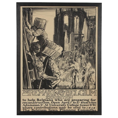 "Frank Brangwyn ""The Remaking of Belgium Exhibition"" Lithographic Poster, 1918"