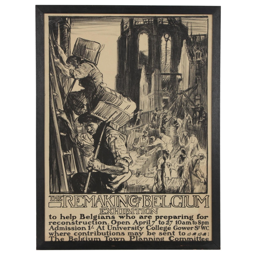 """Frank Brangwyn """"The Remaking of Belgium Exhibition"""" Lithographic Poster, 1918"""