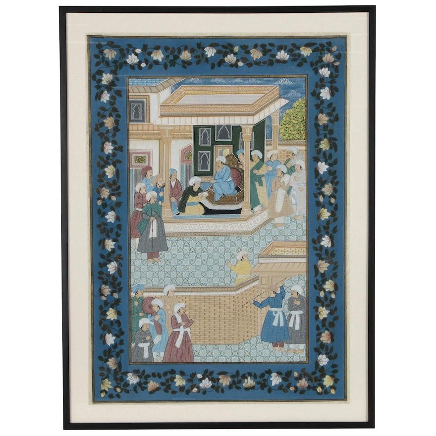 Persian Gouache Painting on Silk of Court Scene, 20th Century