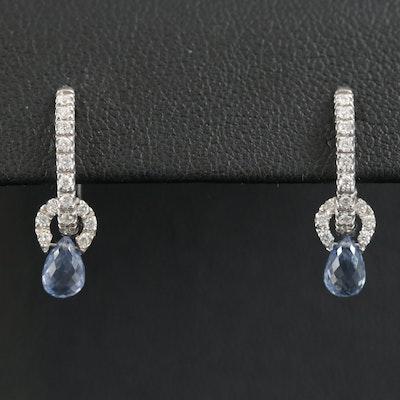 18K Gold Blue Topaz and Diamond Huggie Earrings