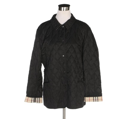 Burberry London Black Quilted Jacket with Classic Check Lining
