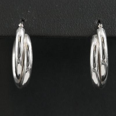 14K White Gold Double Tube Hoop Earrings