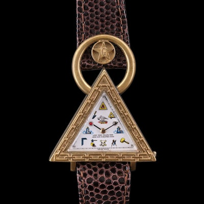Masonic Triangular Shaped Swiss Automatic Wristwatch