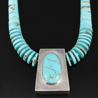 Jimmy Calabaza Kewa Sterling Silver Turquoise Necklace