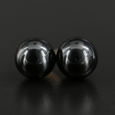 14K Yellow Gold Black Onyx Orb Stud Earrings