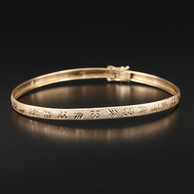 14K Yellow Gold Patterned Bangle Bracelet