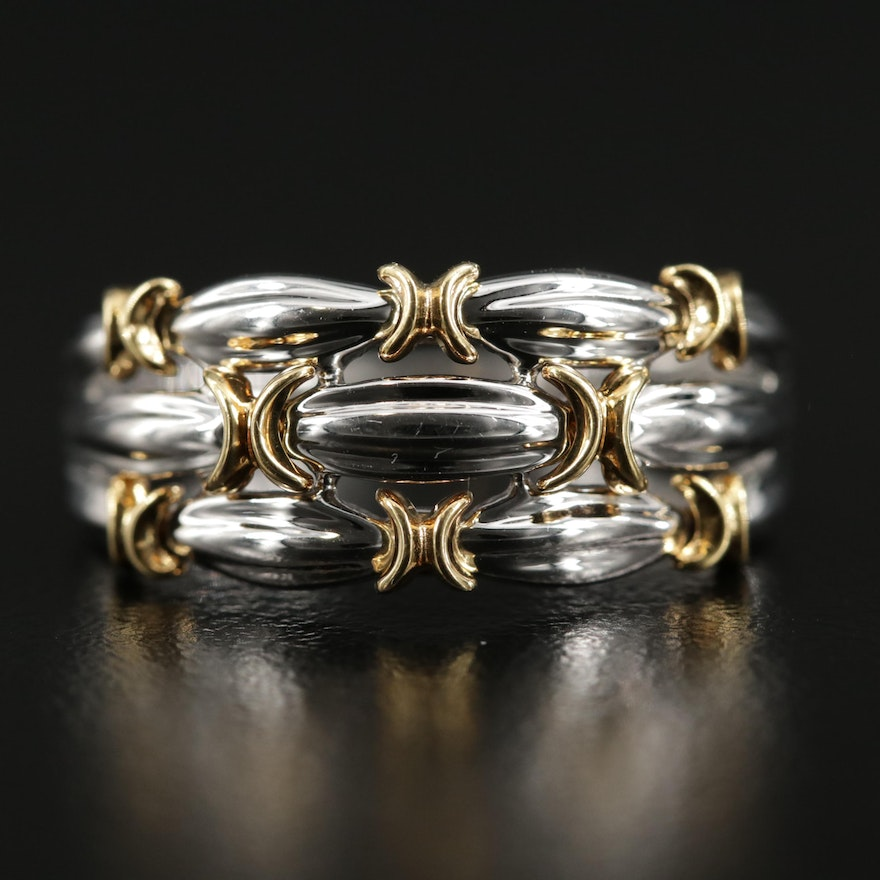 18K White Gold Braided Ring with 14K Yellow Gold Accents