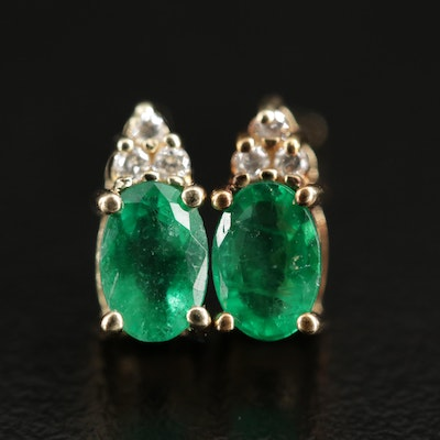 14K Gold Emerald and Diamond Stud Earrings