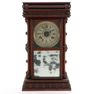 Davis Clock Company Original Finish Oak Calendar Shelf Clock, Late 19th Century