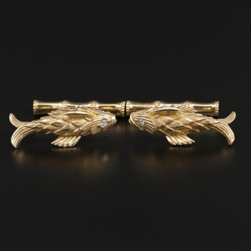 Jean Schlumberger for Tiffany & Co. 18K Gold Diamond Fish Cufflinks