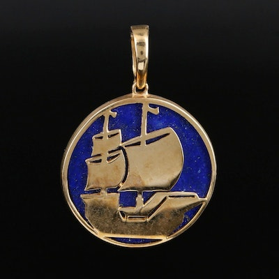 14K Yellow Gold Lapis Lazuli Sailboat Pendant