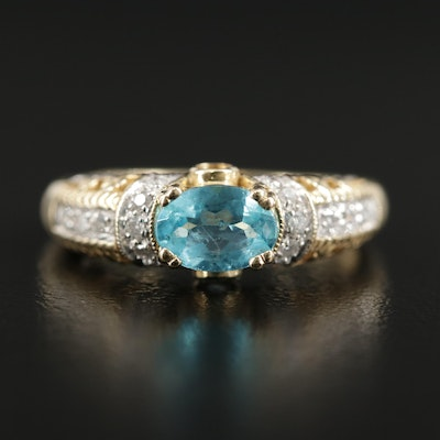 14K Yellow Gold Apatite and Diamond Ring