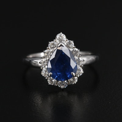 18K Gold 2.14 CT Sapphire Ring with Diamond Halo