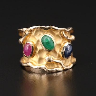 Hammered 14K Yellow Gold Sapphire, Emerald, and Ruby Ring