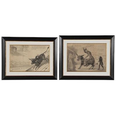 Martin Van Buren Lithographic Political Cartoons, Mid 19th Century