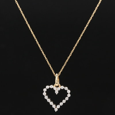 14K Yellow Gold Diamond Open Heart Pendant Necklace