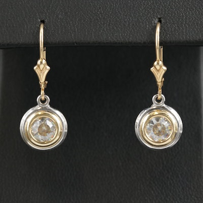 14K Gold Quartz Dangle Earrings