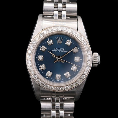 Rolex Oyster Perpetual Stainless Steel and 18K Gold Diamond Wristwatch