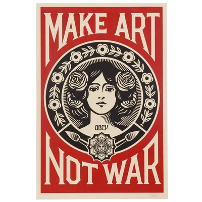 "Shepard Fairey Offset Print ""Make Art Not War"", 2017"