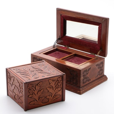 Ornate Wood Boxes, Cigar Box and a Vanity Box