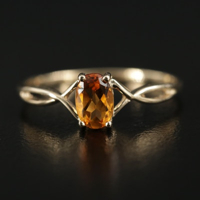 14K Gold Citrine Ring with Twisted Shoulders