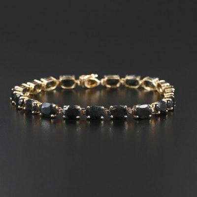 14K Yellow Gold Sapphire Line Bracelet