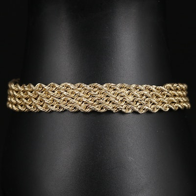 10K Gold Multi-Row Rope Chain Bracelet